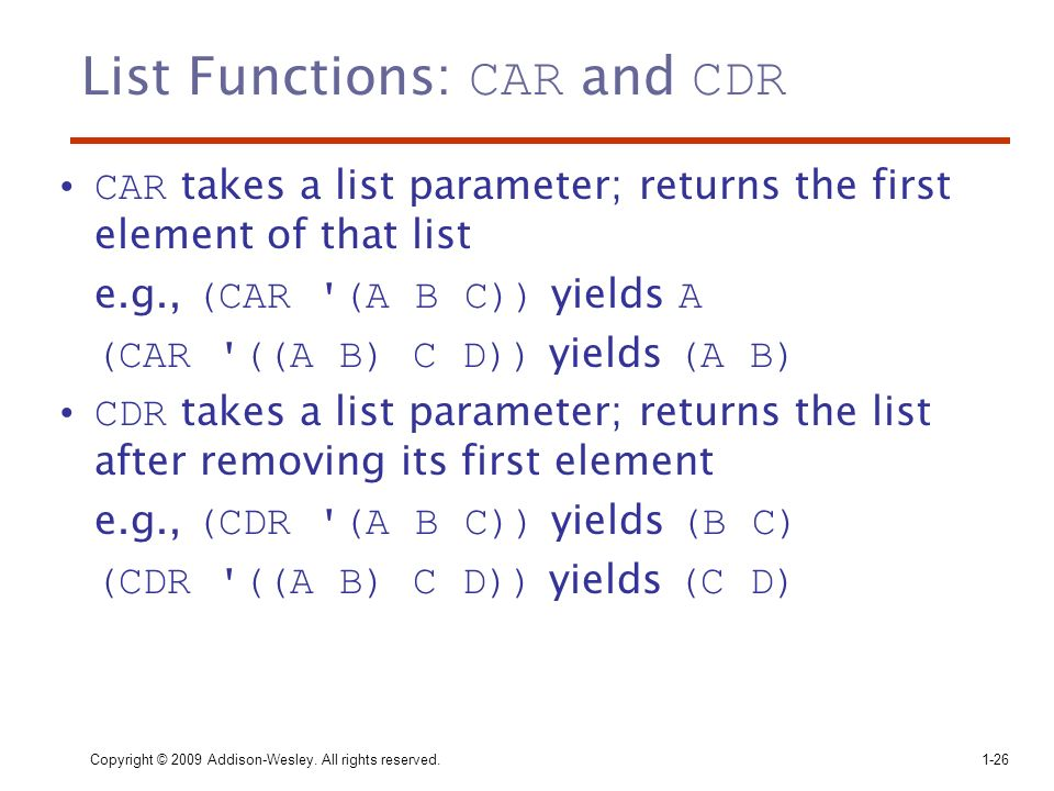 List Functions: CAR and CDR