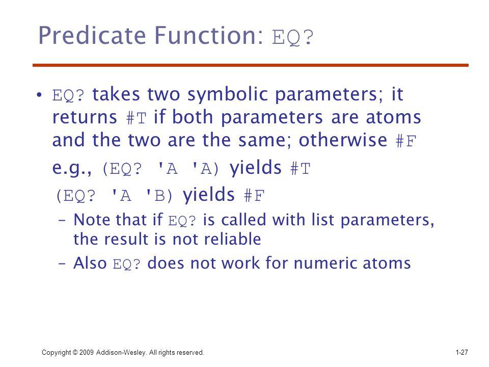 Predicate Function: EQ