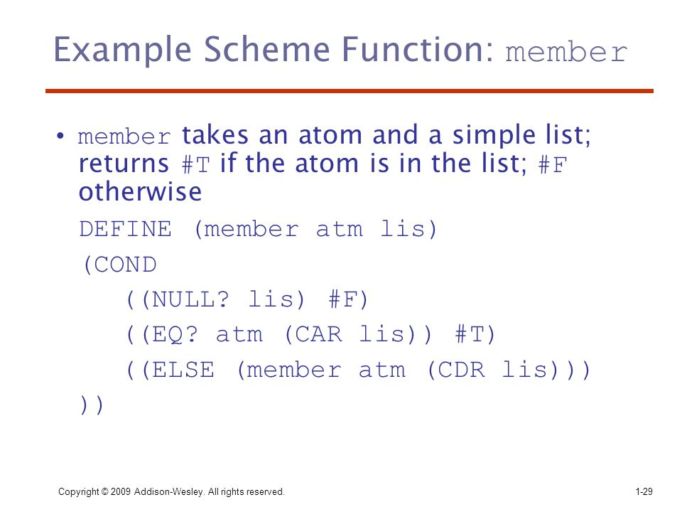 Example Scheme Function: member