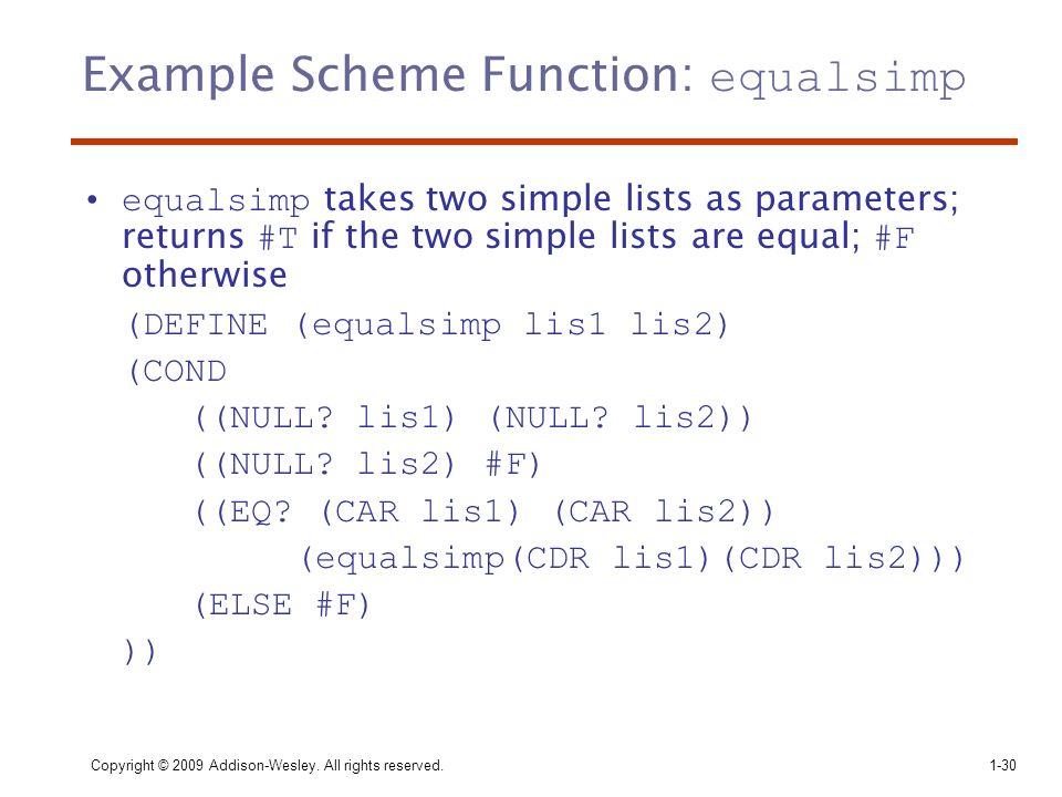 Example Scheme Function: equalsimp