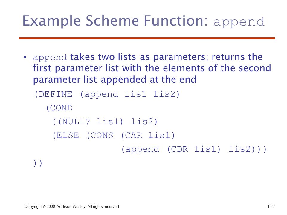 Example Scheme Function: append