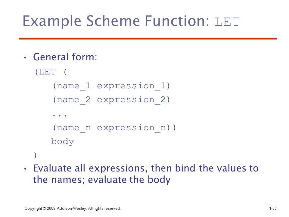 Example Scheme Function: LET