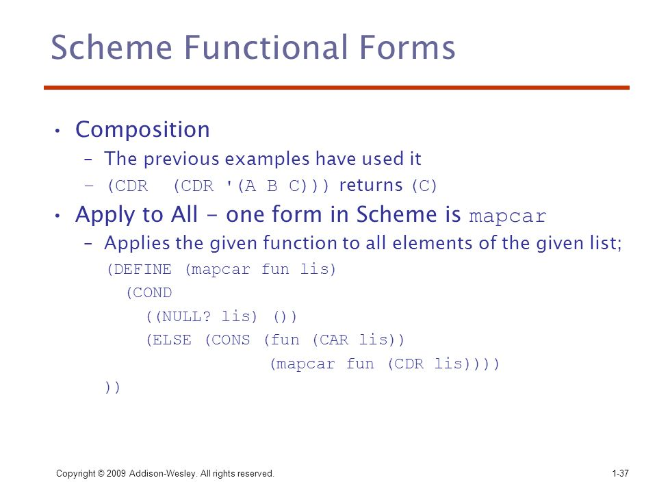 Scheme Functional Forms