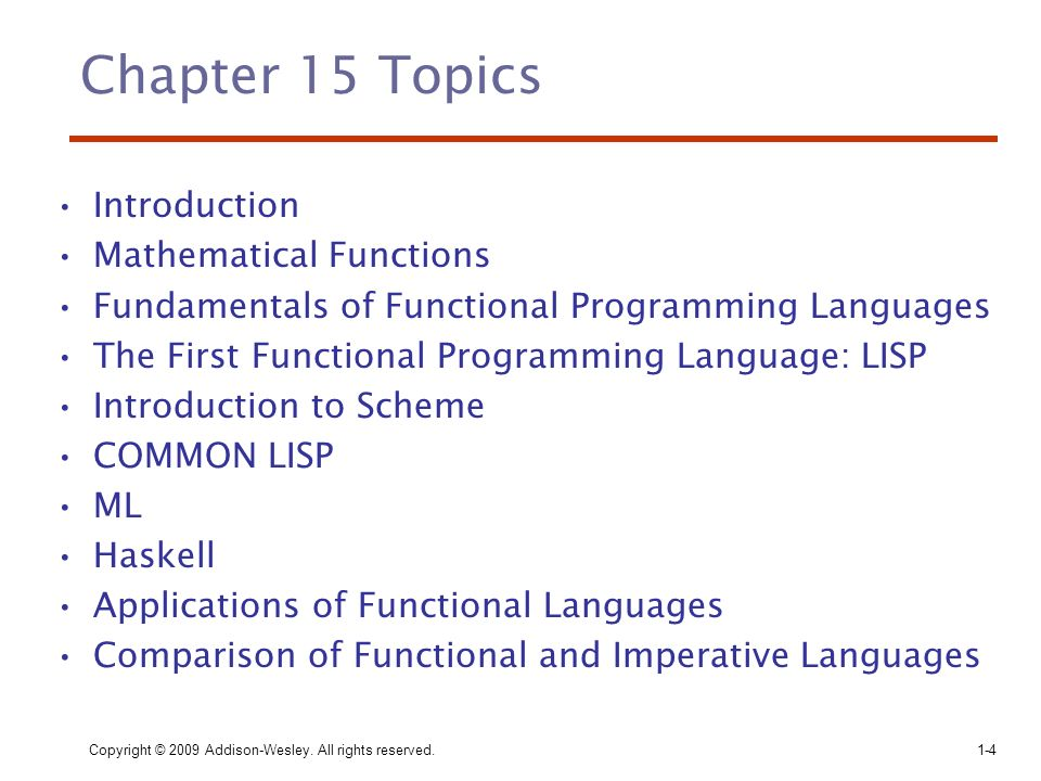 Chapter 15 Topics Introduction Mathematical Functions