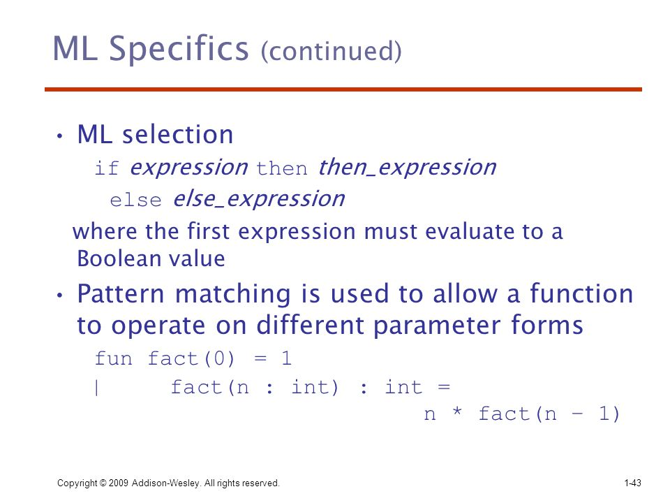 ML Specifics (continued)