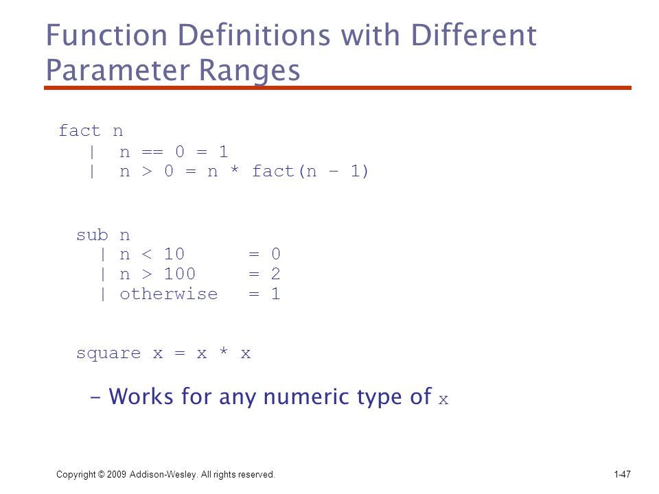 Function Definitions with Different Parameter Ranges