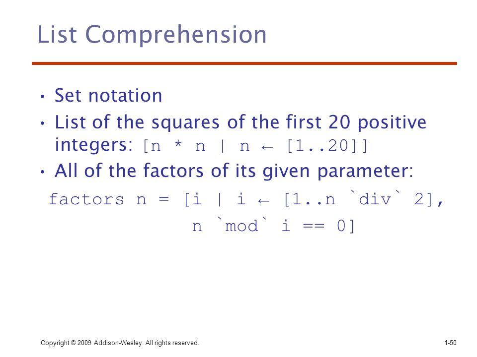 List Comprehension Set notation