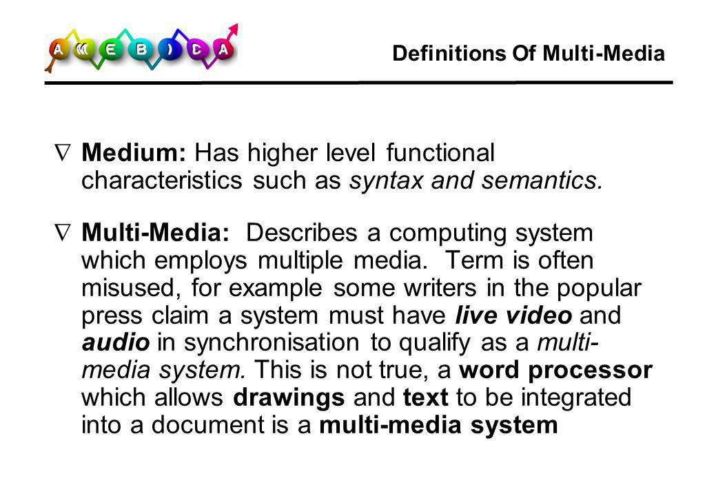 Definitions Of Multi-Media