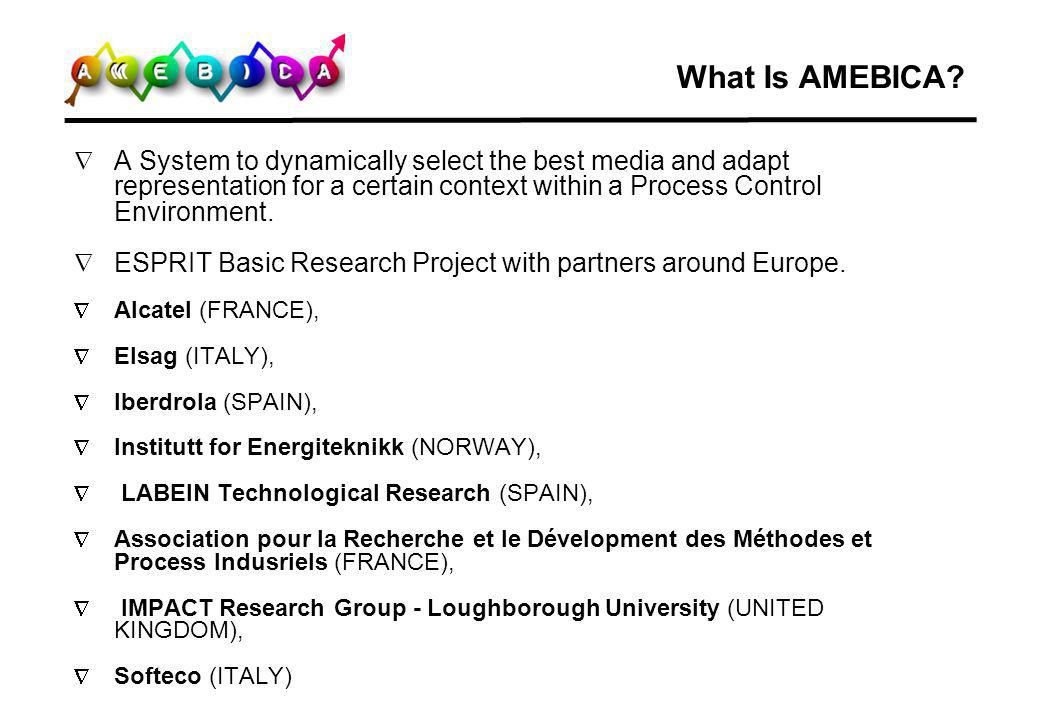 What Is AMEBICA A System to dynamically select the best media and adapt representation for a certain context within a Process Control Environment.