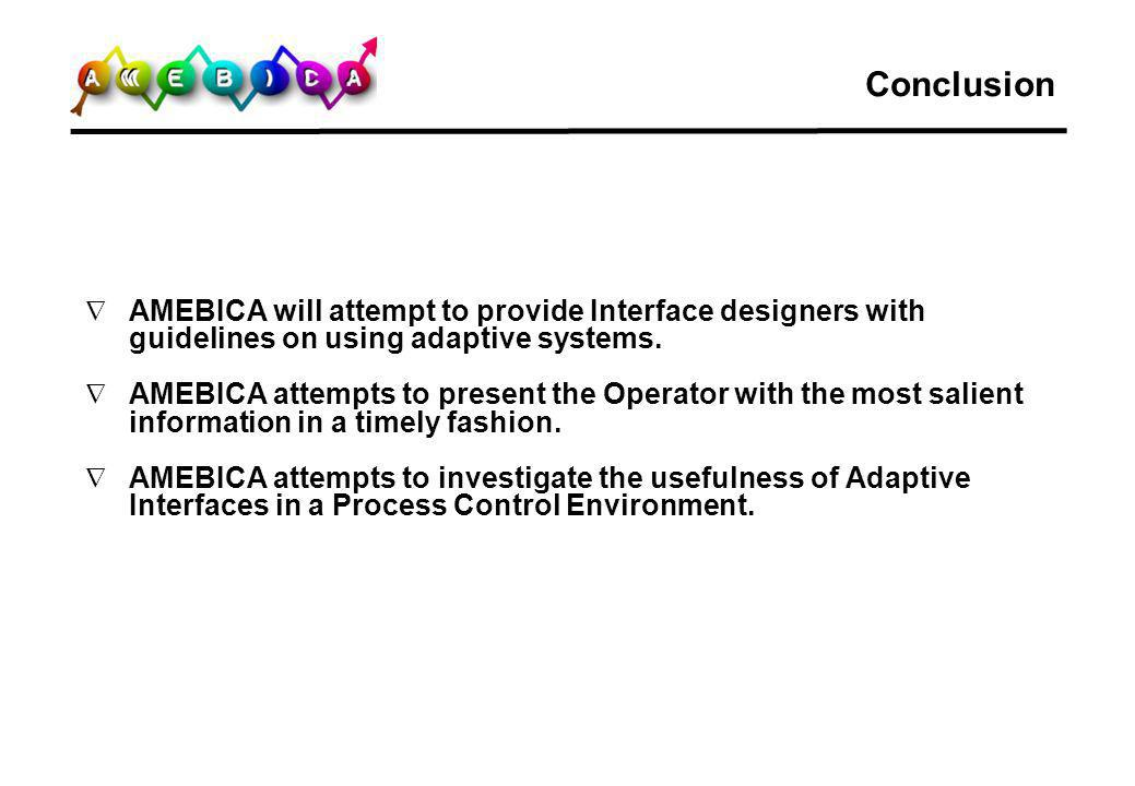 Conclusion AMEBICA will attempt to provide Interface designers with guidelines on using adaptive systems.