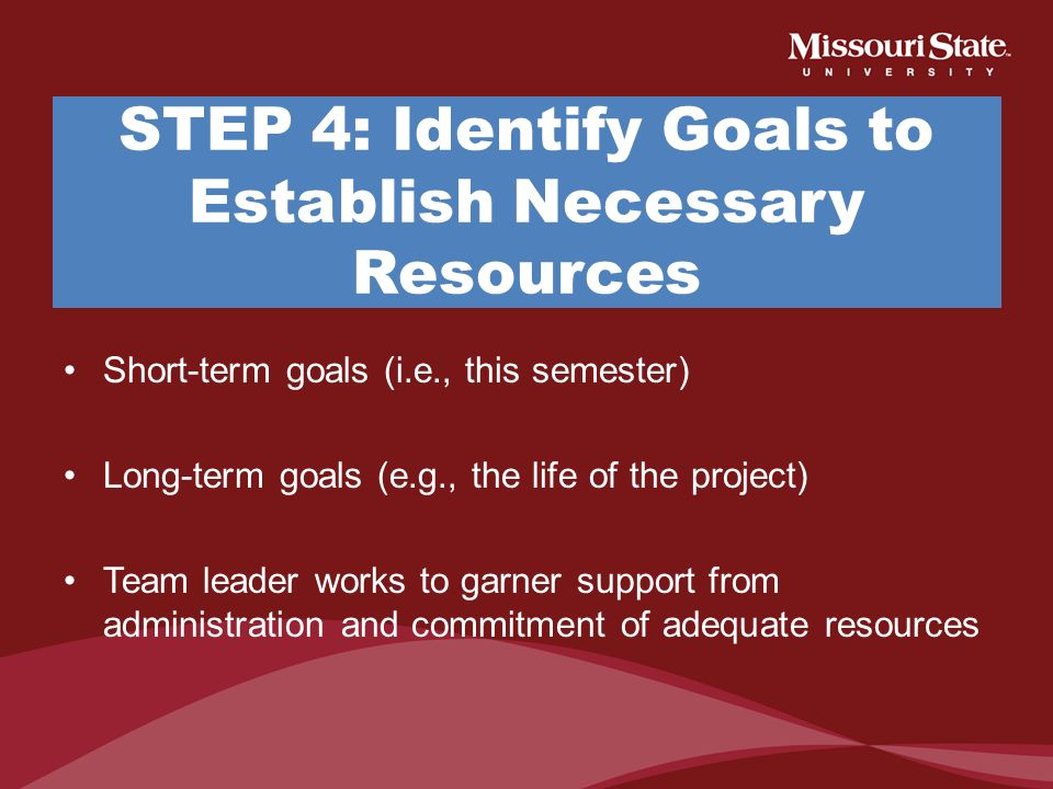 STEP 4: Identify Goals to Establish Necessary Resources
