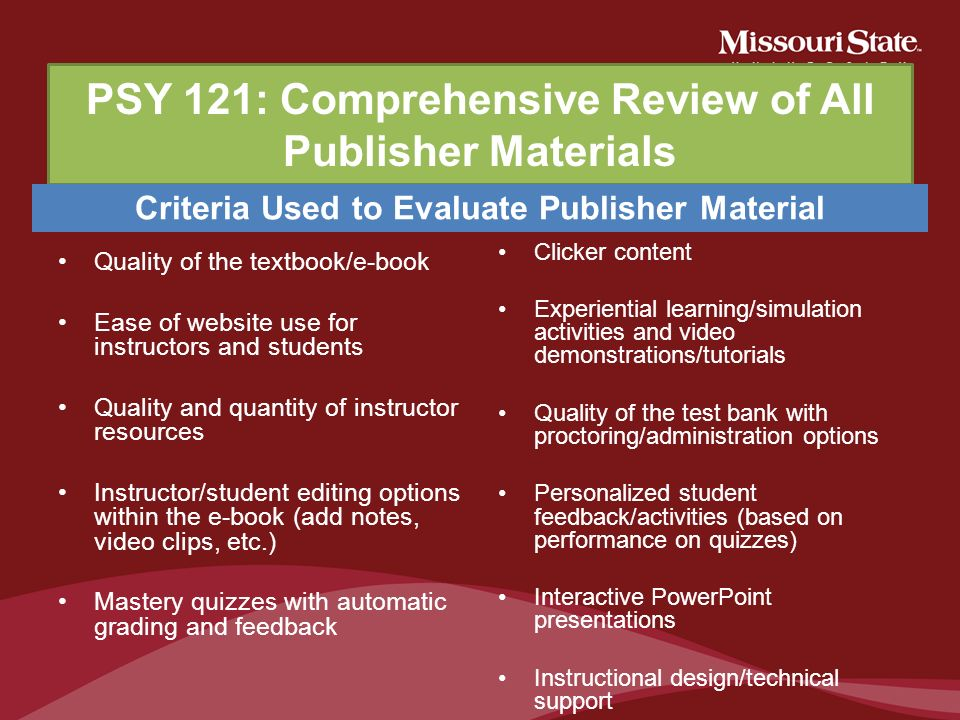 PSY 121: Comprehensive Review of All Publisher Materials