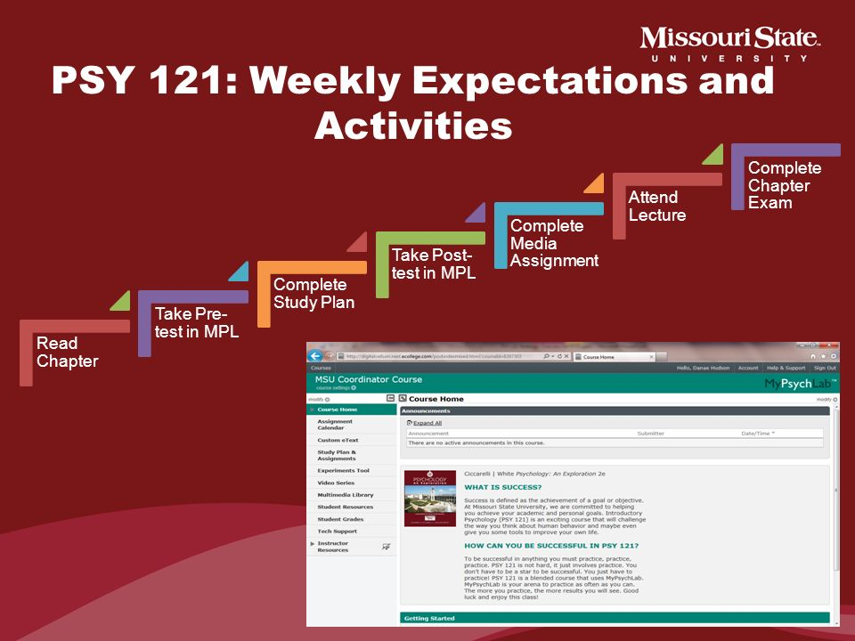 PSY 121: Weekly Expectations and Activities