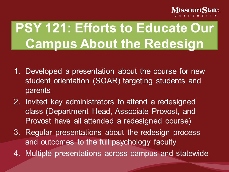 PSY 121: Efforts to Educate Our Campus About the Redesign