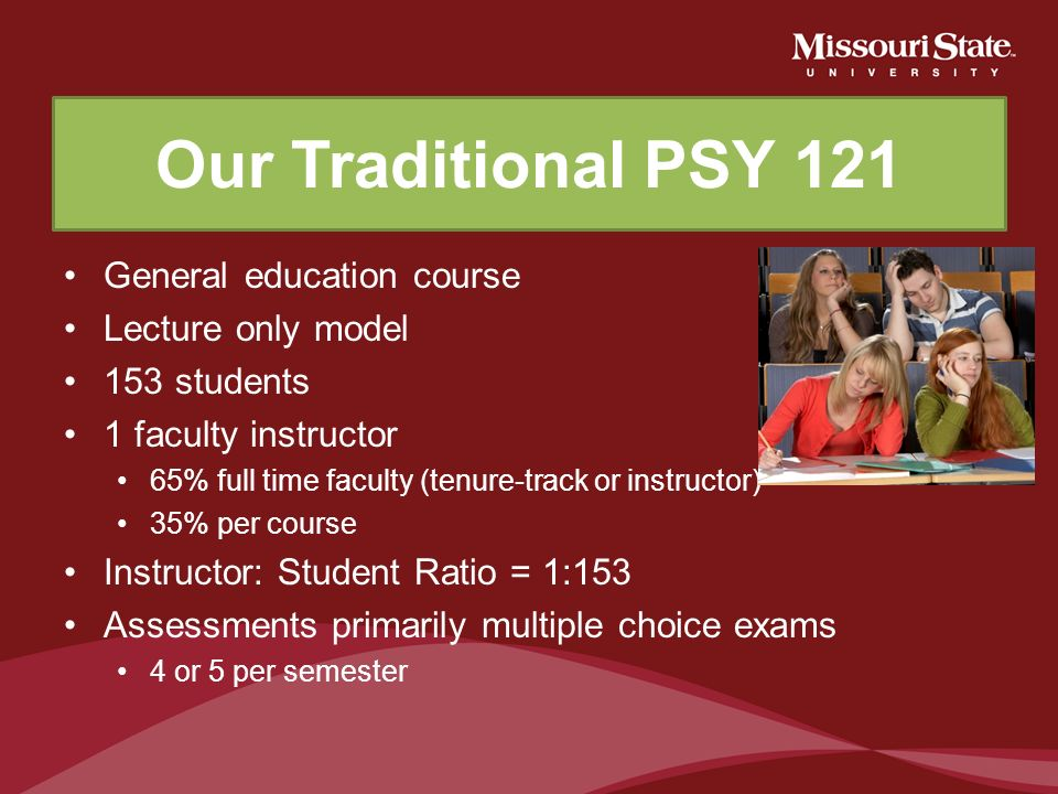 Our Traditional PSY 121 General education course Lecture only model