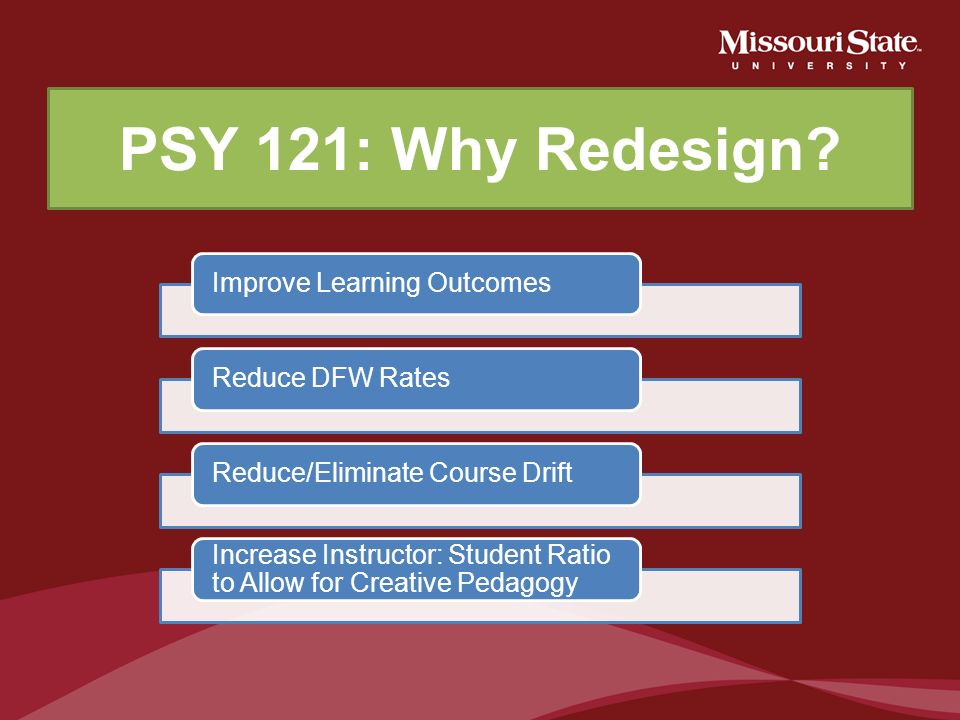 PSY 121: Why Redesign Improve Learning Outcomes Reduce DFW Rates