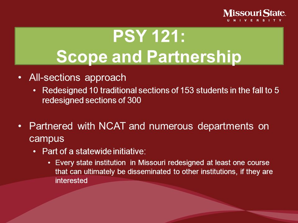 PSY 121: Scope and Partnership