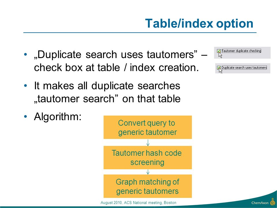 "Table/index option ""Duplicate search uses tautomers – check box at table / index creation."
