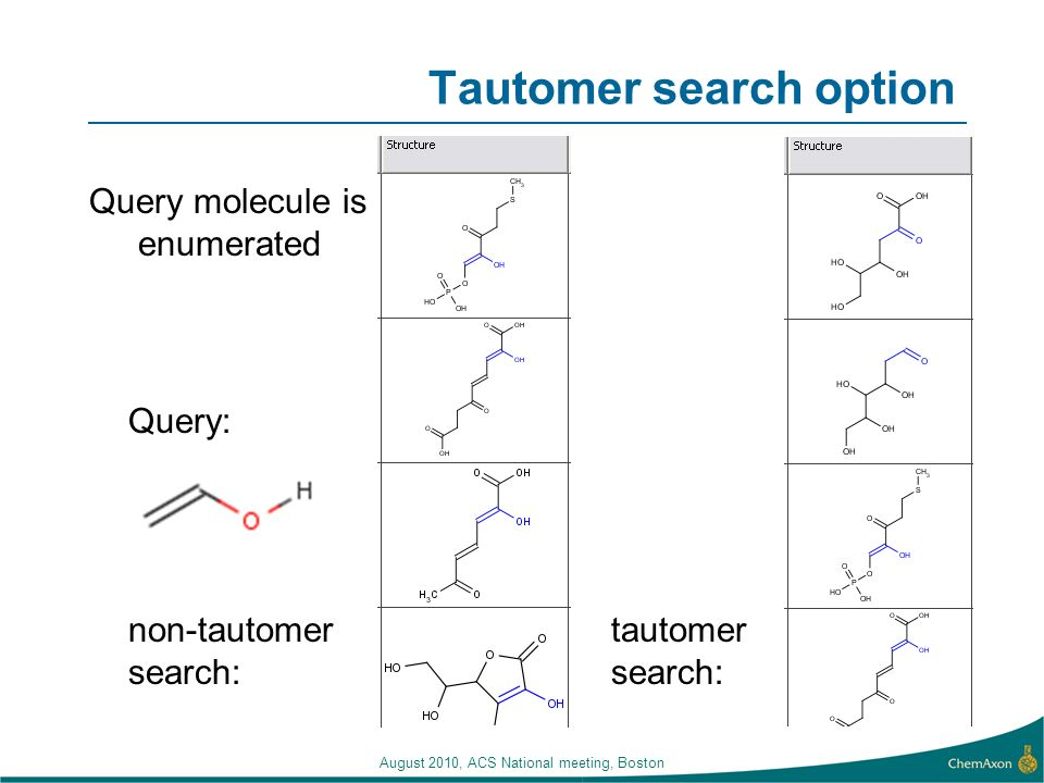 Tautomer search option