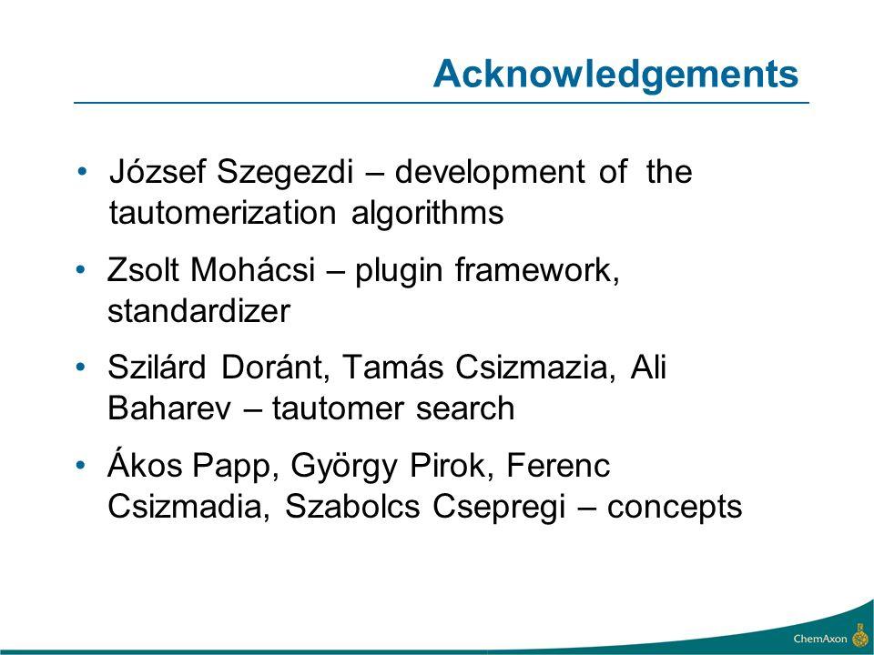 Acknowledgements József Szegezdi – development of the tautomerization algorithms. Zsolt Mohácsi – plugin framework, standardizer.