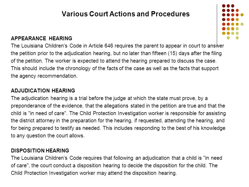 Various Court Actions and Procedures