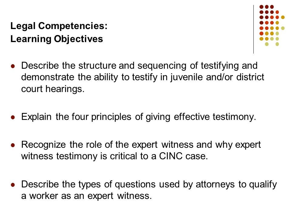 Legal Competencies: Learning Objectives