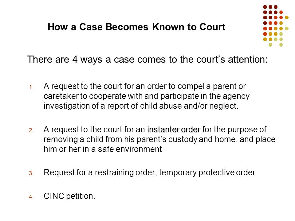How a Case Becomes Known to Court