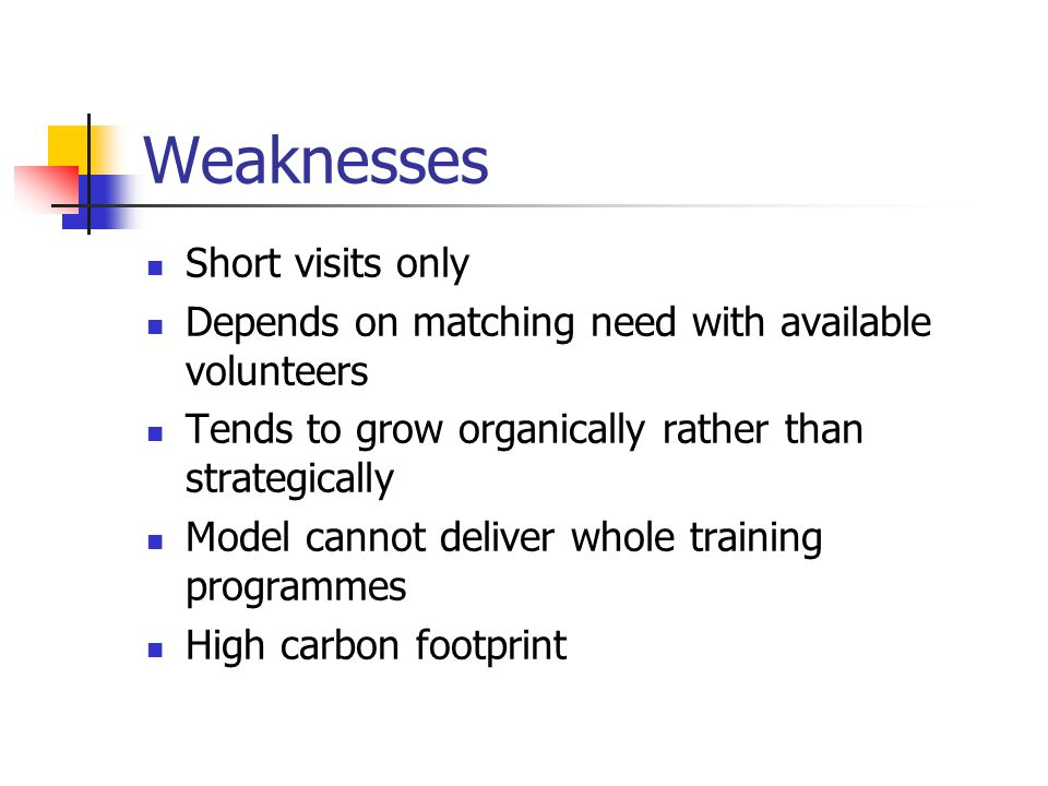 Weaknesses Short visits only