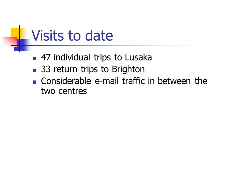 Visits to date 47 individual trips to Lusaka