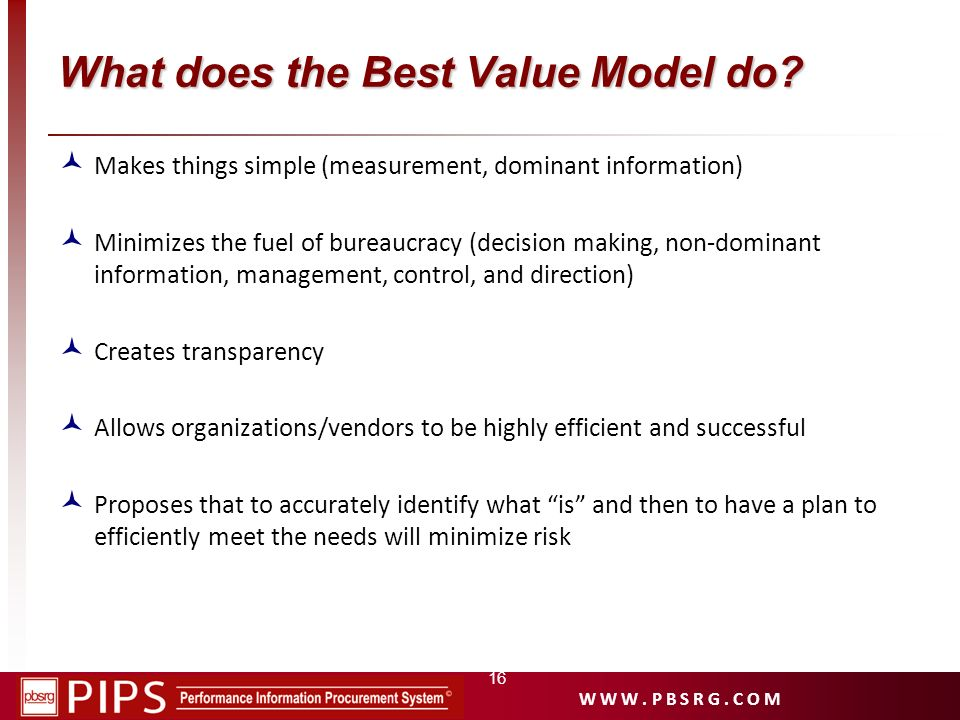 What does the Best Value Model do