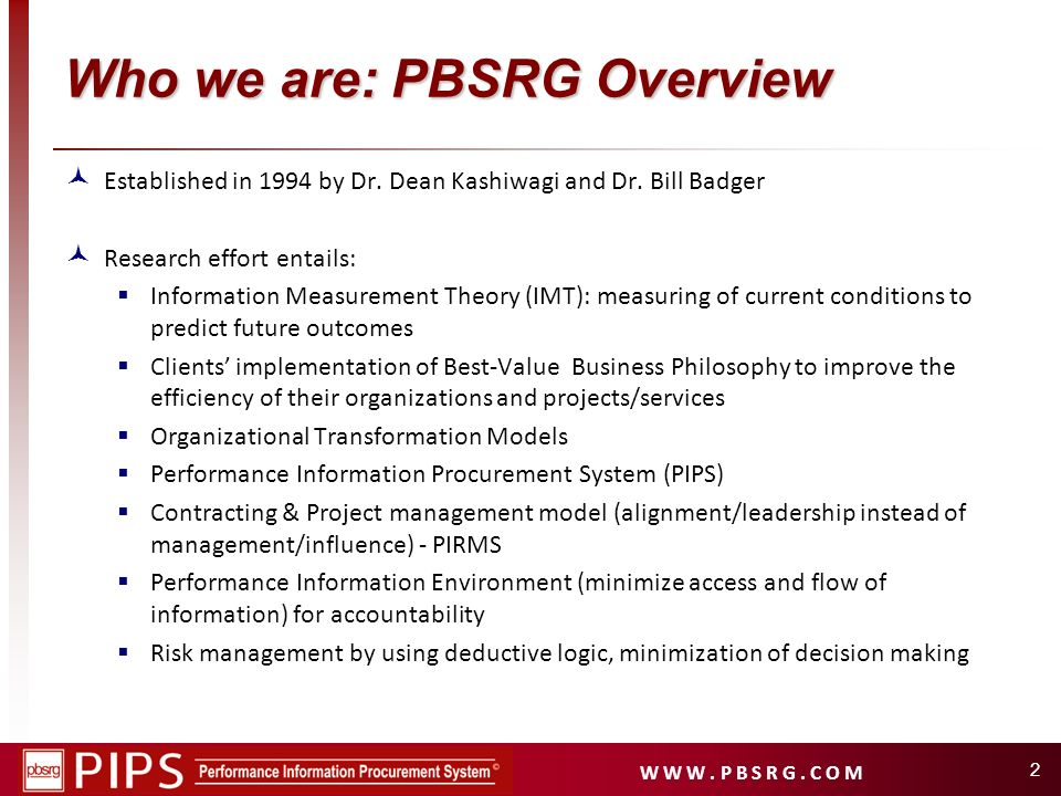 Who we are: PBSRG Overview