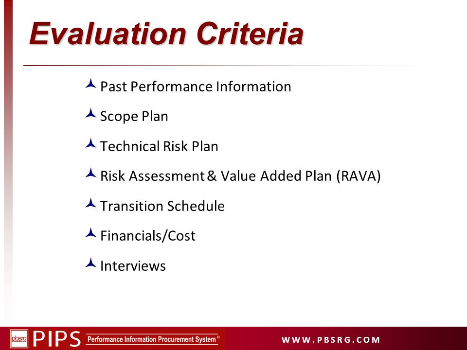 Evaluation Criteria Past Performance Information Scope Plan