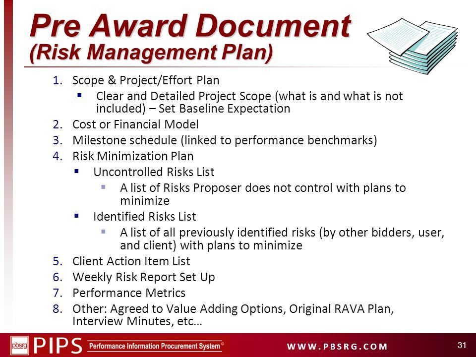Pre Award Document (Risk Management Plan)