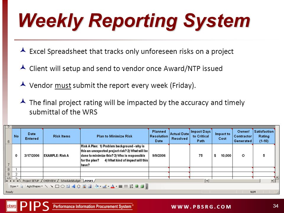Weekly Reporting System