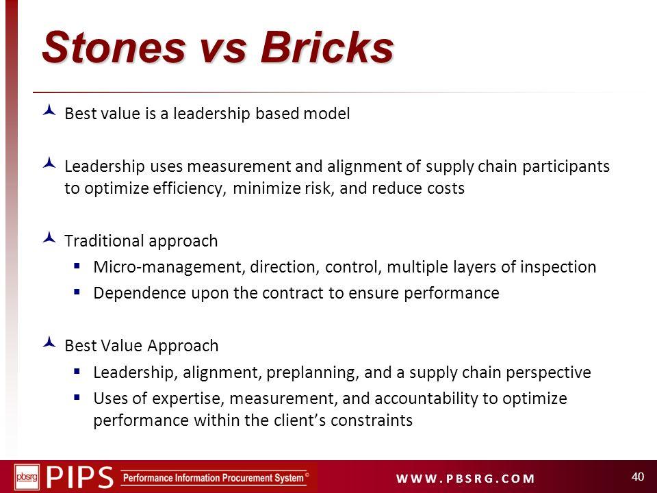 Stones vs Bricks Best value is a leadership based model