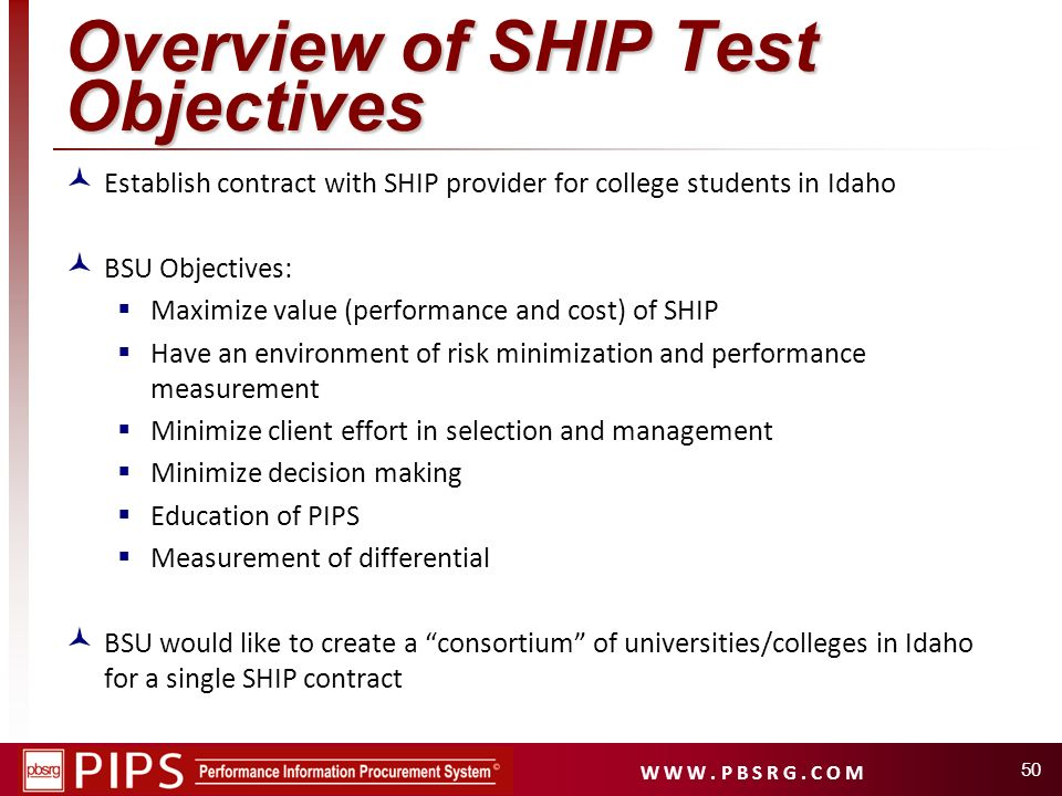 Overview of SHIP Test Objectives