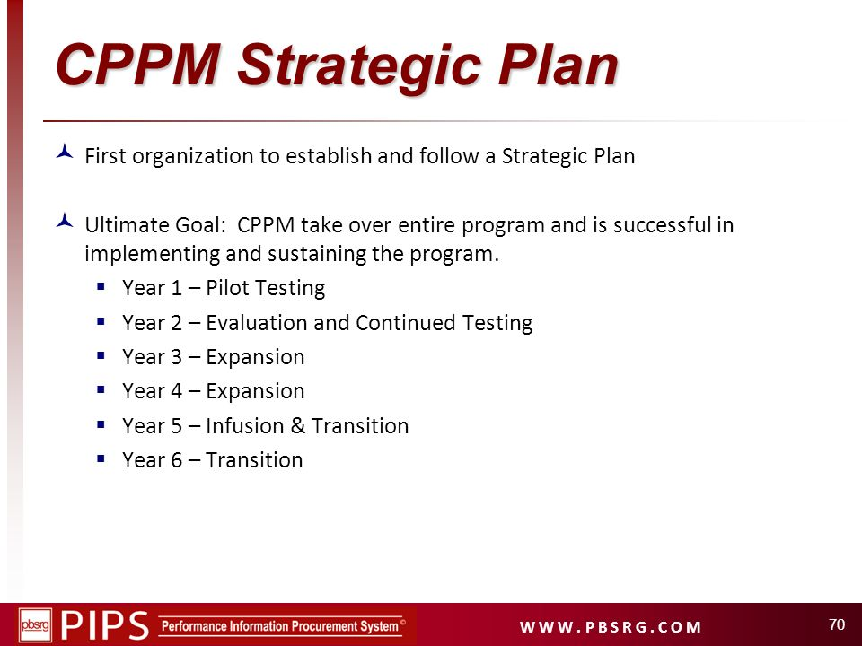 CPPM Strategic Plan First organization to establish and follow a Strategic Plan.