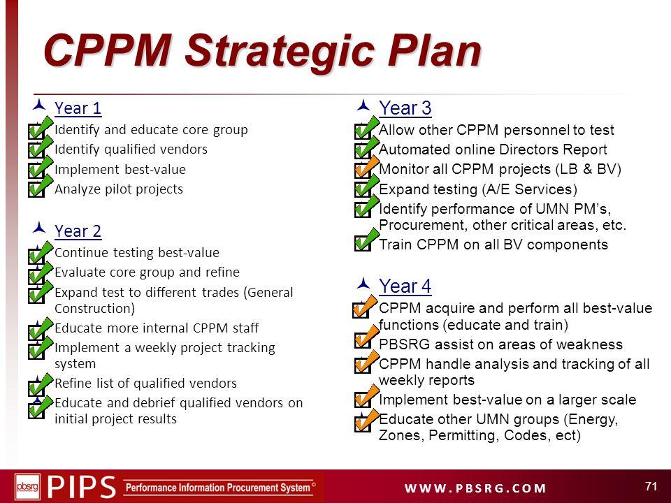 CPPM Strategic Plan Year 1 Year 2 Year 3 Year 4