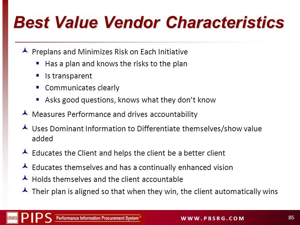 Best Value Vendor Characteristics