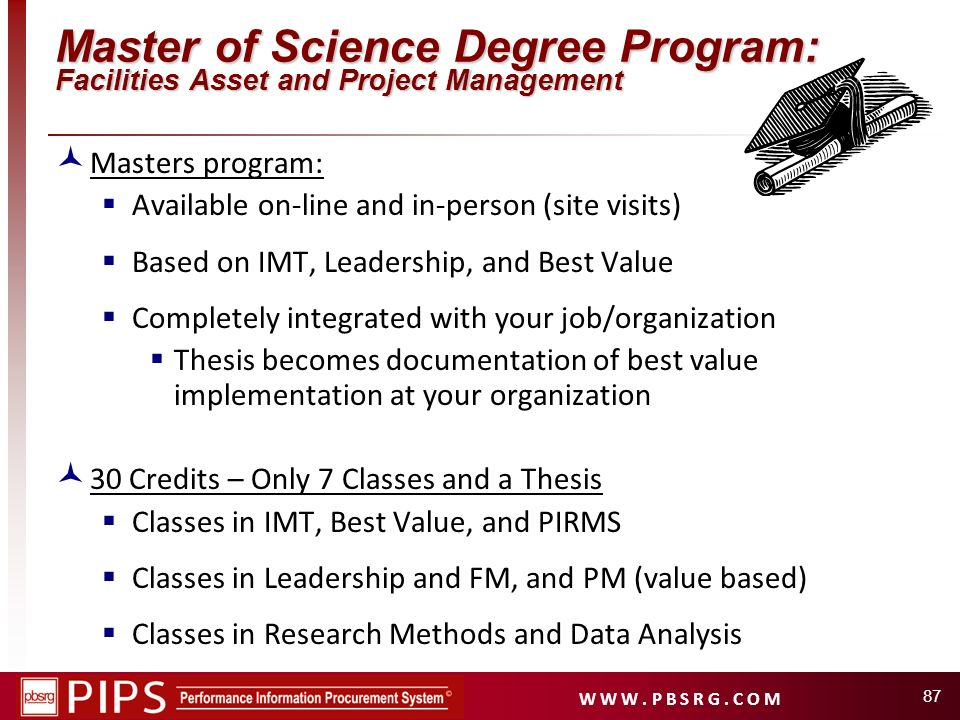 Master of Science Degree Program: Facilities Asset and Project Management