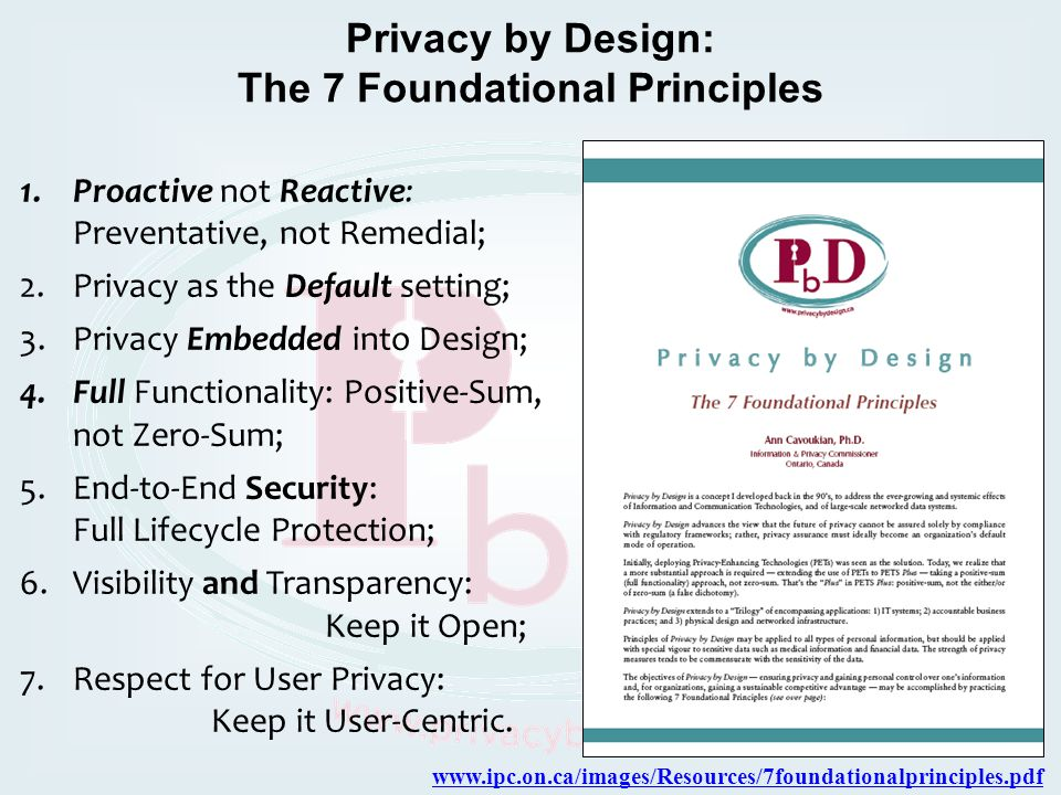 Privacy by Design: The 7 Foundational Principles