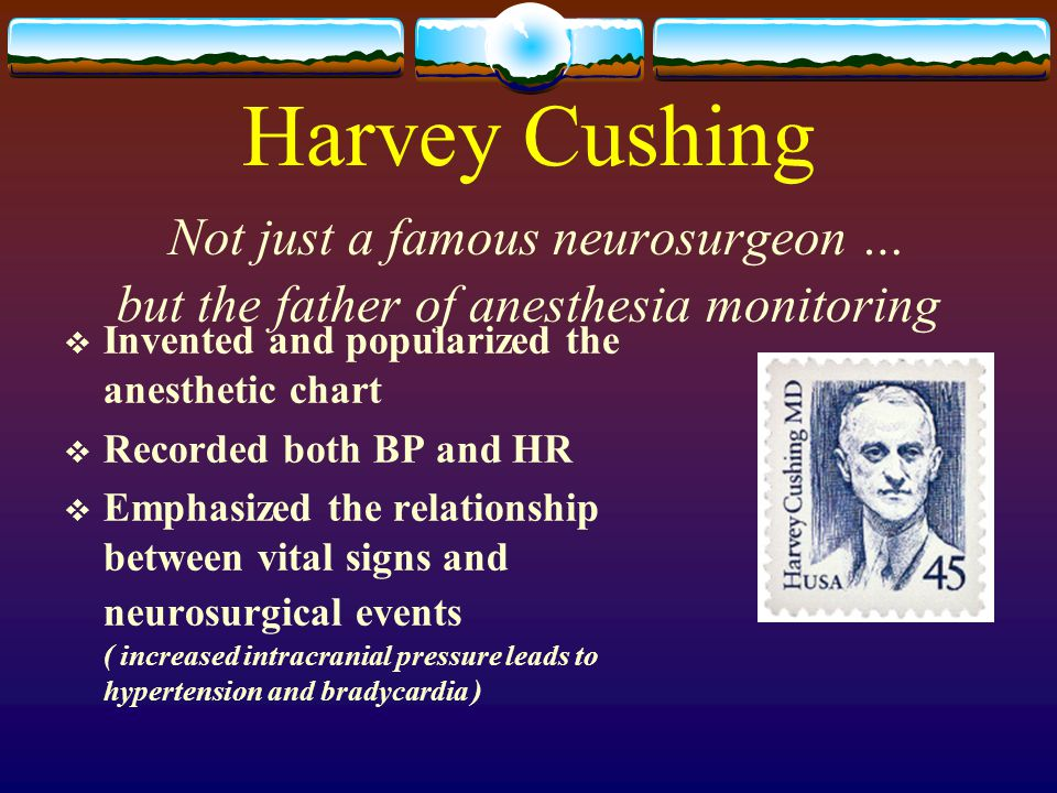 Harvey Cushing Not just a famous neurosurgeon … but the father of anesthesia monitoring