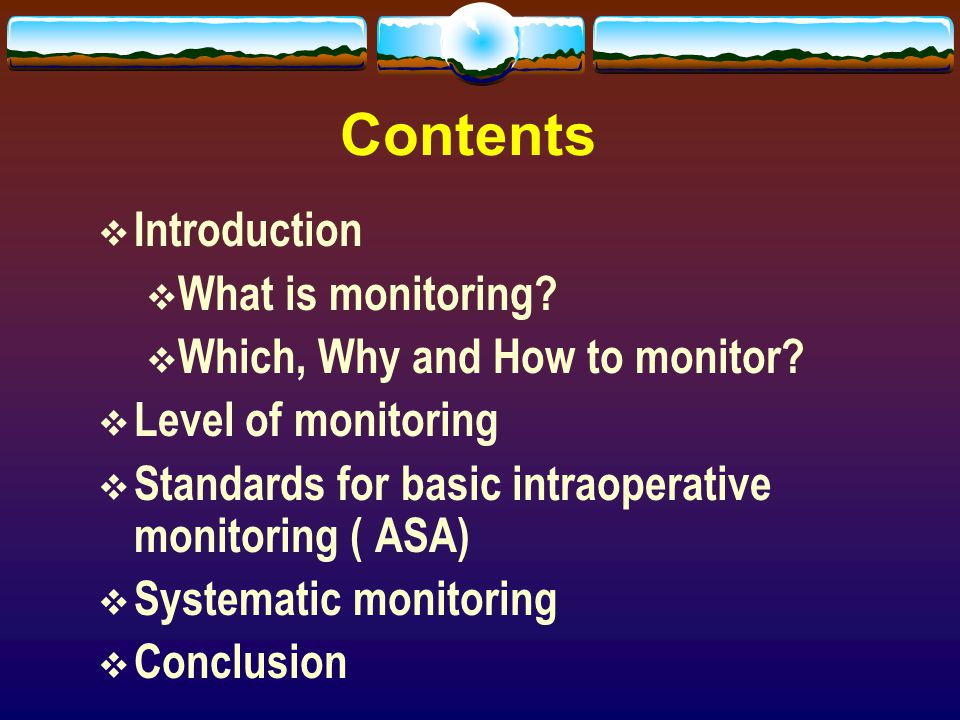 Contents Introduction What is monitoring
