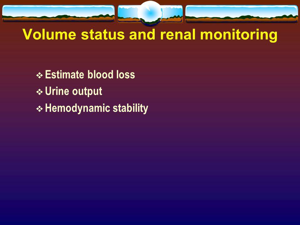 Volume status and renal monitoring