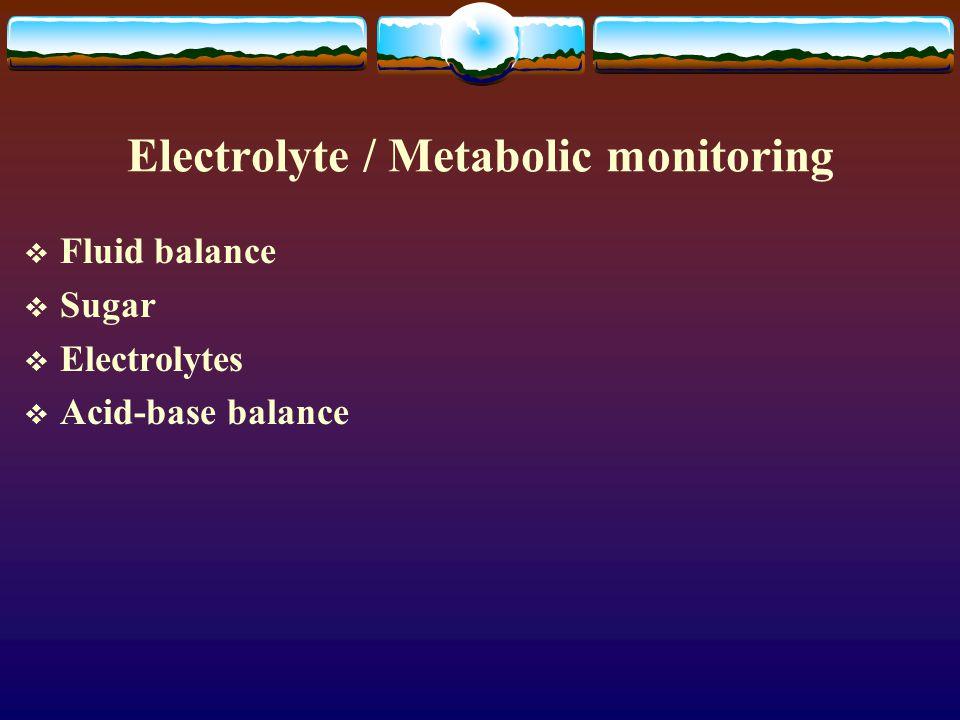 Electrolyte / Metabolic monitoring