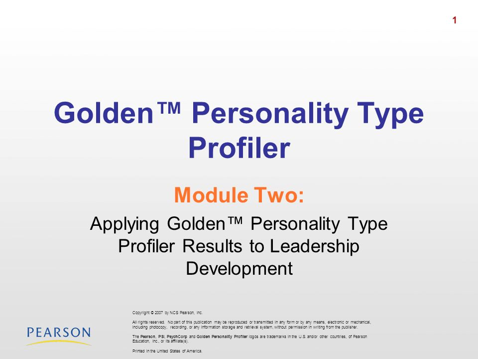 Golden™ Personality Type Profiler