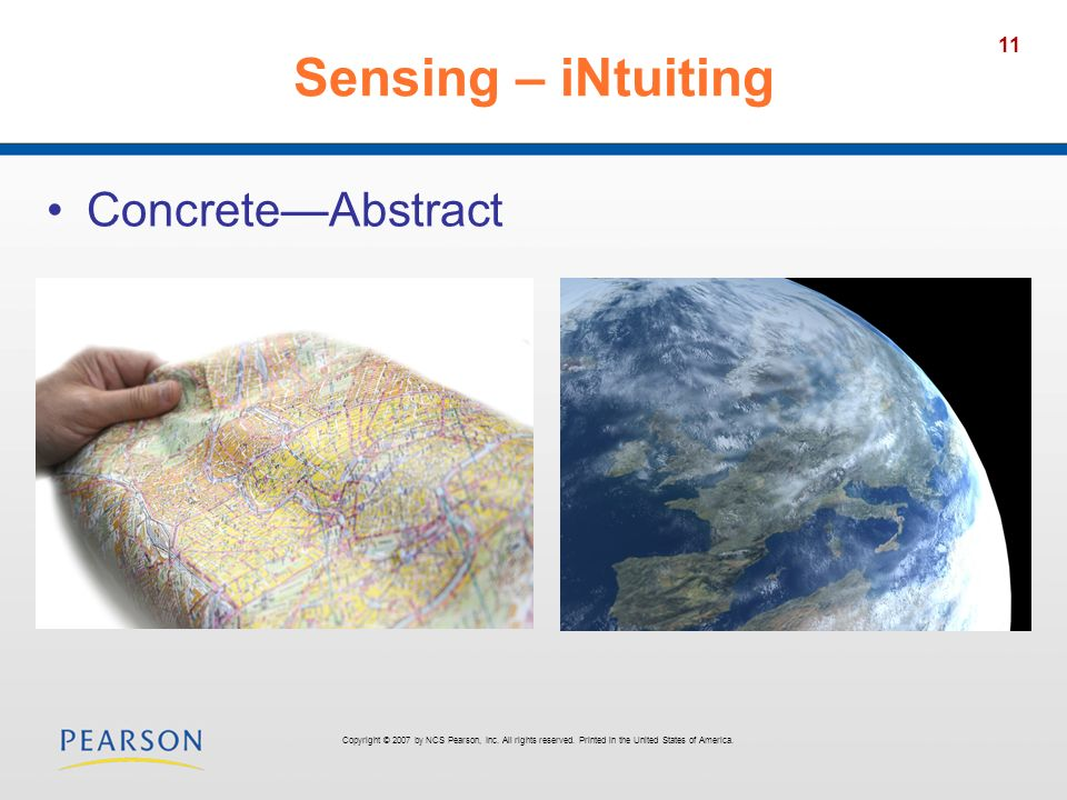 Sensing – iNtuiting Concrete—Abstract