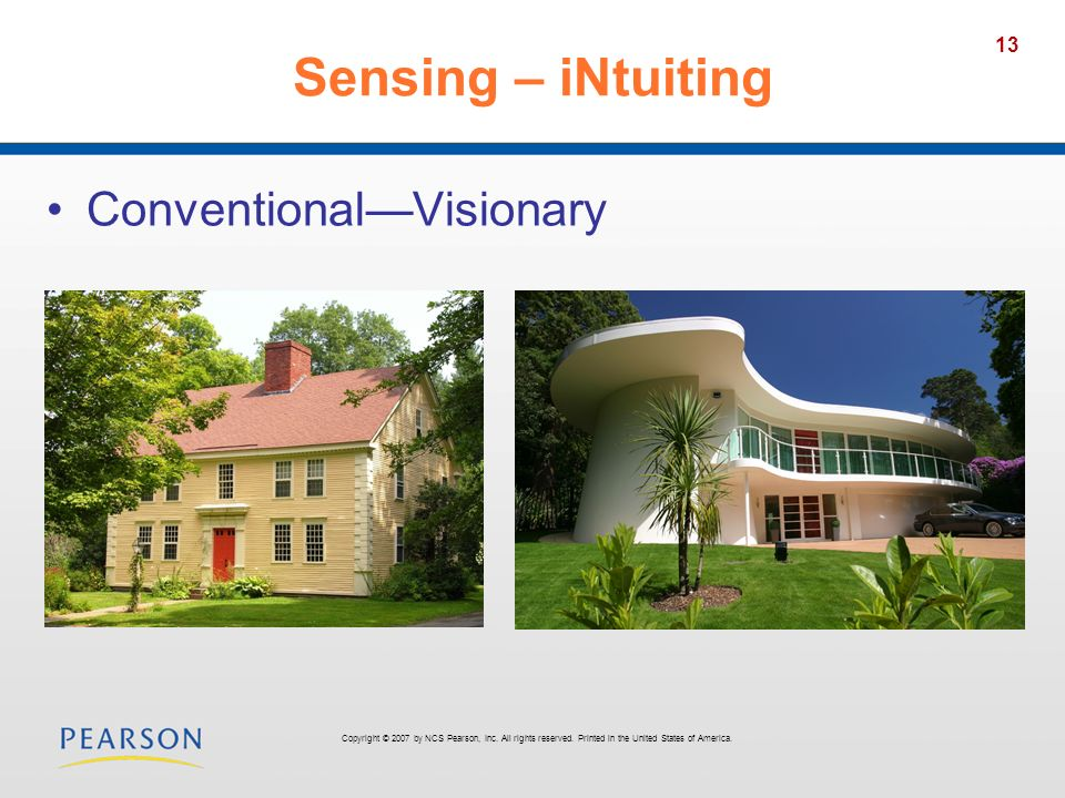 Sensing – iNtuiting Conventional—Visionary