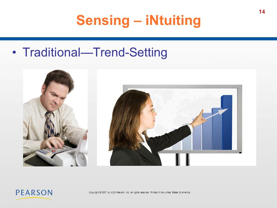 Sensing – iNtuiting Traditional—Trend-Setting