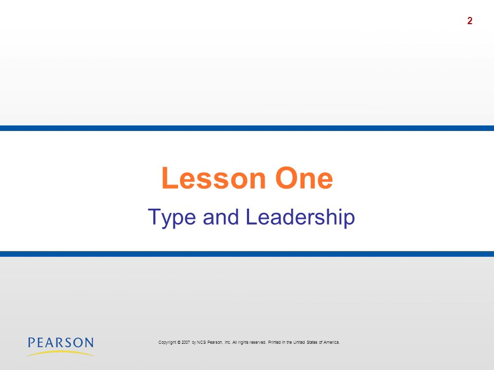 Lesson One Type and Leadership